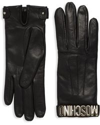 Moschino - Leather Logo Gloves - Lyst