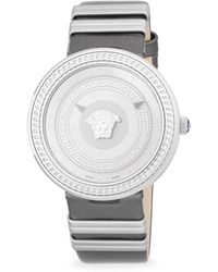 e5be50400 Versace - Textured Stainless Steel And Leather-strap Watch - Lyst