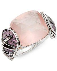 John Hardy - Batu Classic Pink Sapphire, Quartz & Sterling Silver Ring - Lyst