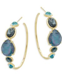 Ippolita - Rock Candy Multi-stone And 18k Gold Hoop Earrings - Lyst