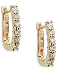 Effy - Diamond And 14k Yellow Gold Hoop Earrings, 0.47 Tcw - Lyst
