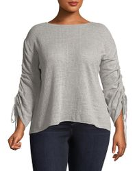 Vince Camuto - Ruched-sleeve Cotton Jumper - Lyst