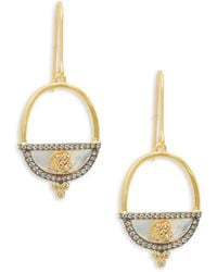 Freida Rothman - Open Oval Crystal Goldtone Drop Earrings - Lyst