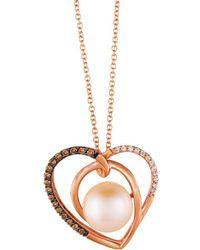 Le Vian - Chocolatier® 9mm Strawberry Pearl® & Chocolate Diamond® Heart Pendant Necklace - Lyst