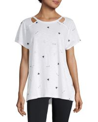 Marc New York - Short-sleeve Printed Cut-out Top - Lyst