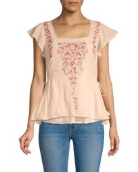 Love Sam - Embroidered Floral Top - Lyst