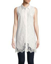 T Tahari - Sabina Sleeveless Embroidered Shirt - Lyst