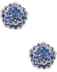 Arthur Marder Fine Jewelry - Silver, Sapphire & Champagne Diamond Stud Earrings - Lyst
