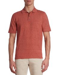 Saks Fifth Avenue - Collection Heathered Cotton Polo - Lyst
