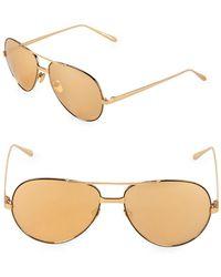 Linda Farrow - 59mm Aviator Sunglasses - Lyst