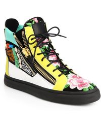 Giuseppe Zanotti - Floral Mixed Media High-top Trainers - Lyst
