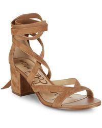 Sam Edelman - Sheri Suede Block Heel Sandals - Lyst
