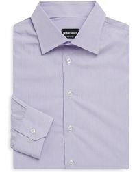 Giorgio Armani - Long Sleeve Micro Stripe Cotton Shirt - Lyst