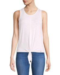 c0679603357aa Lyst - Calvin Klein Graphic-Print Cowl-Neck Top in Pink