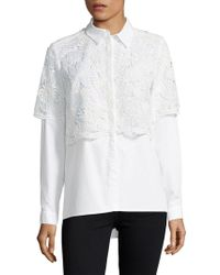 French Connection - Lace Cotton Button-down Shirt - Lyst