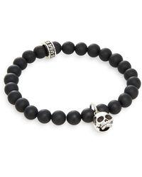 King Baby Studio - Black Onyx & Sterling Silver Beaded Skull Charm Bracelet - Lyst
