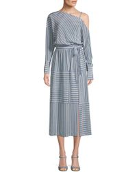 Robert Rodriguez - Striped Cold-shoulder Silk Dress - Lyst