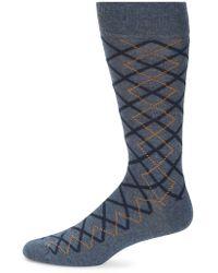 Saks Fifth Avenue - Plaid Argyle Crew Socks - Lyst