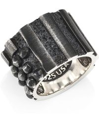 King Baby Studio - Sterling Silver Riveted Flag Ring - Lyst