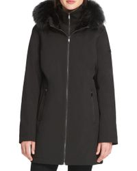 Donna Karan - Faux Fur-trimmed Hooded Coat - Lyst