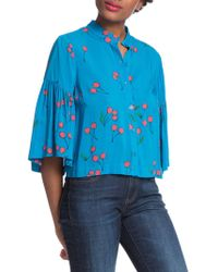 Plenty by Tracy Reese - Cherry Printed Flounce Sleeve Shirt - Lyst