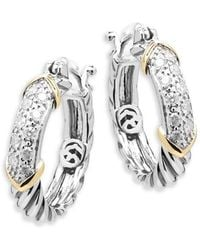 Effy - Diamond, 14k Yellow Gold And Sterling Silver Hoop Earrings, 0.32 Tcw - Lyst