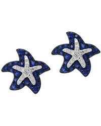 Effy - 14k White Gold Sapphire And Diamond Starfish Stud Earrings - Lyst