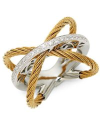 Alor - Classique 18k Gold, Stainless Steel & Diamond Ring - Lyst
