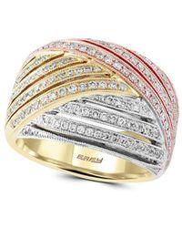 Effy - Diamond & 14k White, Yellow & Rose Gold Ring - Lyst
