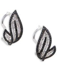 Effy - Caviar Diamond, Black Diamond And 14k White Gold Stud Earrings - Lyst