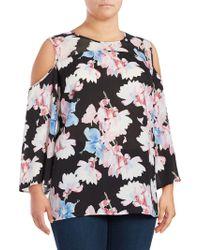 Vince Camuto - Plus Floral-print Long-sleeve Cold-shoulder Top - Lyst