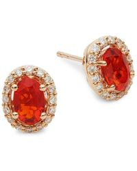 Le Vian - 14k Rose Gold, Fire Opal & White Diamond Stud Earrings - Lyst