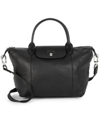 Longchamp - Small Le Pliage Cuir Leather Top Handle Bag - Lyst