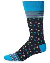 Bugatchi - Multicolored Lines And Dot Socks - Lyst
