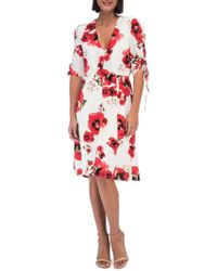 Bobeau - Floral Ruched-sleeve Dress - Lyst