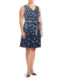 Adrianna Papell - Plus Printed Knee-length Dress - Lyst