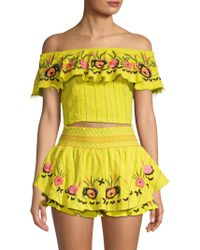 Red Carter - Barra Smocked Floral Cotton Shorts - Lyst