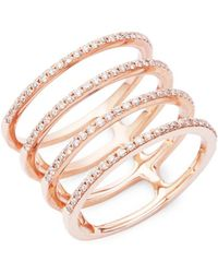 EF Collection - Spiral Diamond & 14k Rose Gold Ring - Lyst