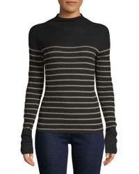 Vince - Striped Mock-neck Cashmere Sweater - Lyst