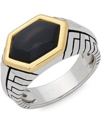Effy - Onyx, Sterling Silver And 14k Yellow Gold Faceted Midi Ring - Lyst