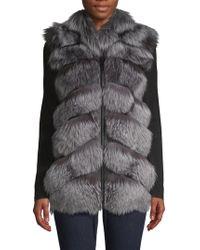 Belle Fare - Natural Silver Fox Fur & Leather Vest - Lyst