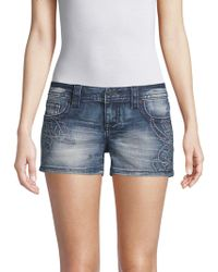 Miss Me - Swirl Denim Shorts - Lyst