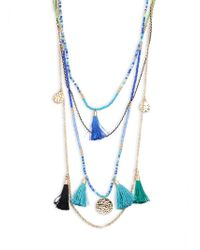 Cara - Beaded Tassel Pendant Necklace - Lyst