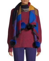 La Fiorentina - Dyed Fox Fur-trimmed Geometric Scarf - Lyst