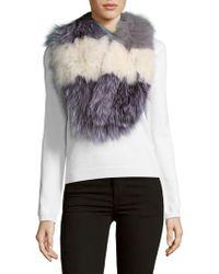 La Fiorentina - Striped Fox Fur Scarf - Lyst
