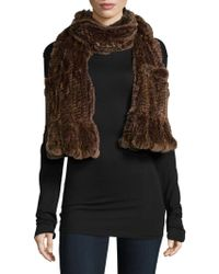 Belle Fare - Knitted Dyed Rex Rabbit Scarf - Lyst
