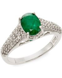 Effy - Emerald, Diamond & 14k White Gold Ring - Lyst