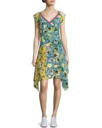Tommy Hilfiger - Patchwork Floral Silk Dress - Lyst
