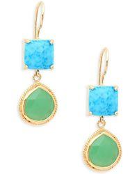 Alanna Bess - Turquoise Geometric Drop Earrings - Lyst