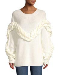 FRAME - Ruffled Yoke Sweater - Lyst